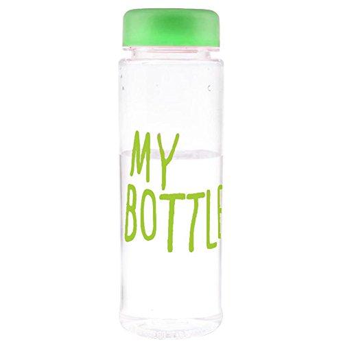 Fingertip ウォーターボトル プラスチック製 再利用可能 耐熱ボトル 水ボトル ジュース 牛乳 カップ 手ボトル 500ML   (グリーン)