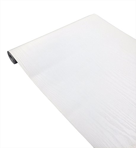 tomtask 壁紙 ホワイト 白 ウォールシール 45cm×10m ウォールステッカー 防水 貼り方説明書付 (木目)