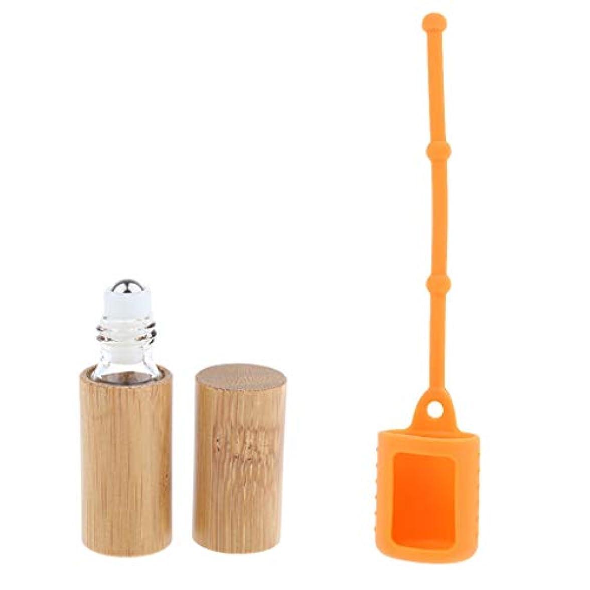 マウス運動するリア王FLAMEER 空ボトル 竹ボトル 香水瓶 エッセンシャルオイル 精油瓶 詰め替え 掛け シリコンカバー