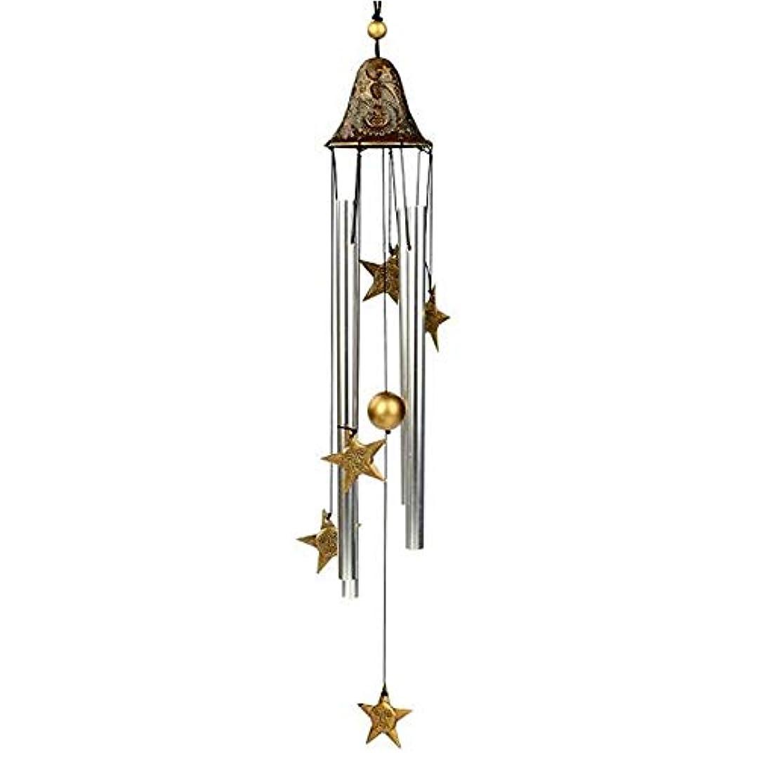 アルファベット触覚前任者Qiyuezhuangshi 風チャイム、手作りメタル4チューブ風の鐘、ゴールド、全身について60CM,美しいホリデーギフト (Color : A)