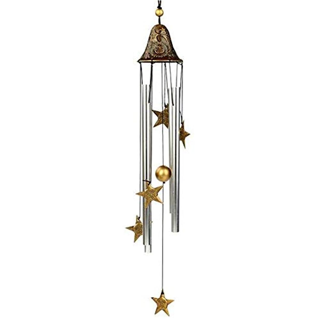 動力学ドラム浮浪者Hongyuantongxun 風チャイム、手作りメタル4チューブ風の鐘、ゴールド、全身について60CM,、装飾品ペンダント (Color : A)