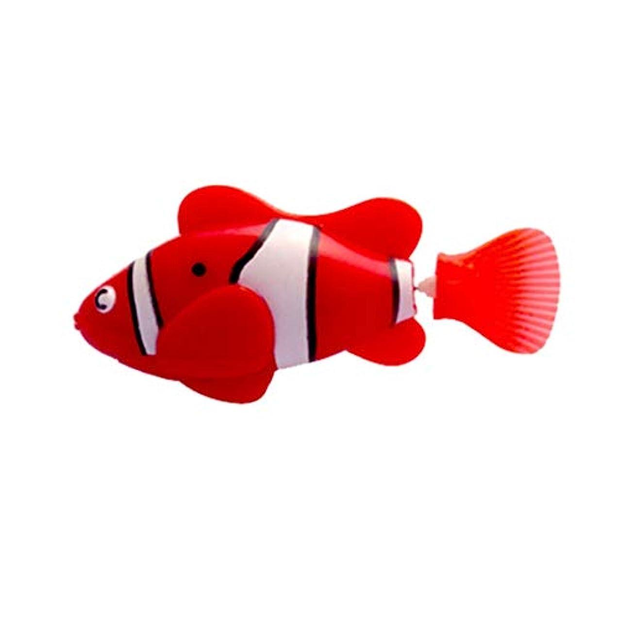 エコー遅らせる信頼性のあるミニ風呂玩具バイオニック魚電動スイミングマジカルルバオ魚水中世界深海電子センシング魚 - 赤