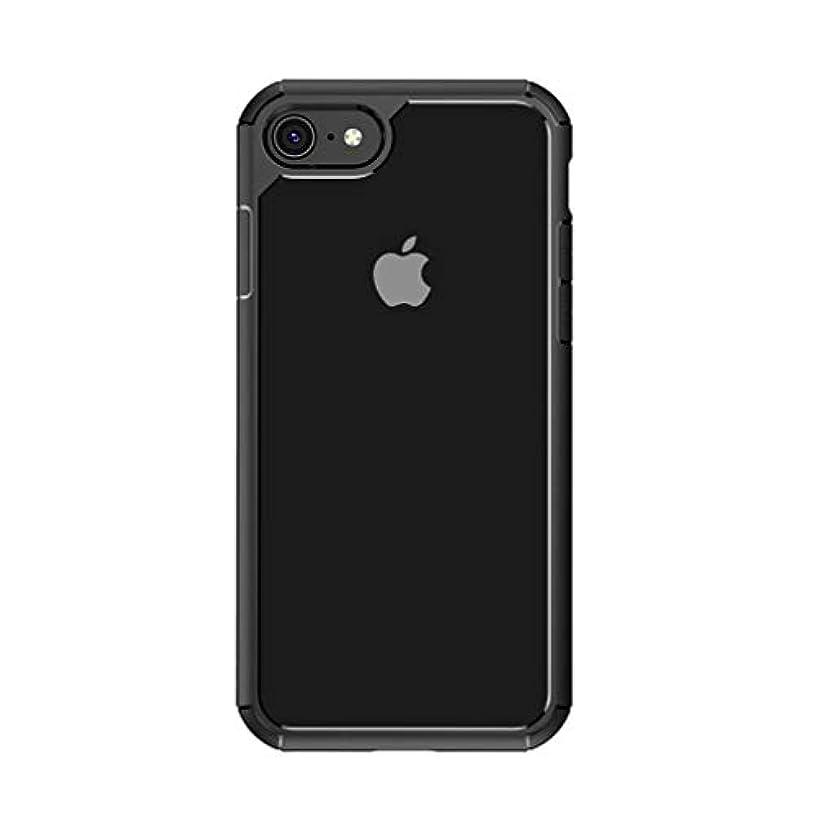 自慢経歴ビルダーiPhone SE ケース 第2世代 (2020年モデル) iPhone8 / iPhone7ケース 対応 背面クリア TPU素材を 薄型 軽量 手触りがいい 耐衝撃 シリコンカバー クリア (ブラック)