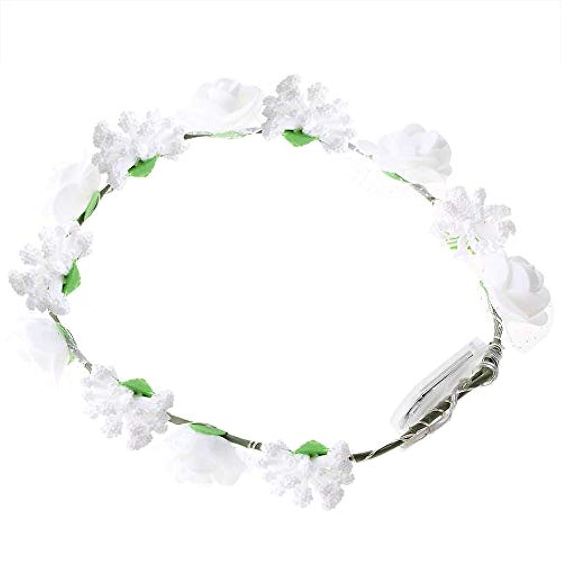 自治擬人受け取るSemme LEDの花の王冠、照明髪の花輪耐久性のあるLEDローズ花ライト妖精照明髪の花輪ライトアップ花の冠(White)