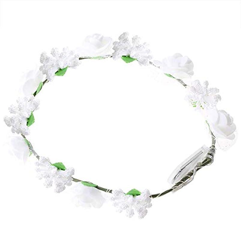 四半期一般的に誤解するSemme LEDの花の王冠、照明髪の花輪耐久性のあるLEDローズ花ライト妖精照明髪の花輪ライトアップ花の冠(White)