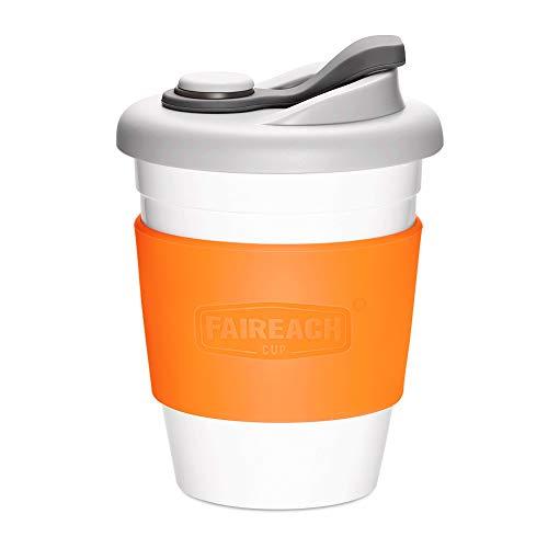 コーヒーカップ Faireach 蓋付きのコップ 熱に強い 割れない BPAフリー 夫婦コーヒーコップセット FDA承認 滑り止めカバー付き 繰り返し使用可能 仕事用 通気口付き 食洗機/電子レンジ対応340ml/12オンス オレンジ