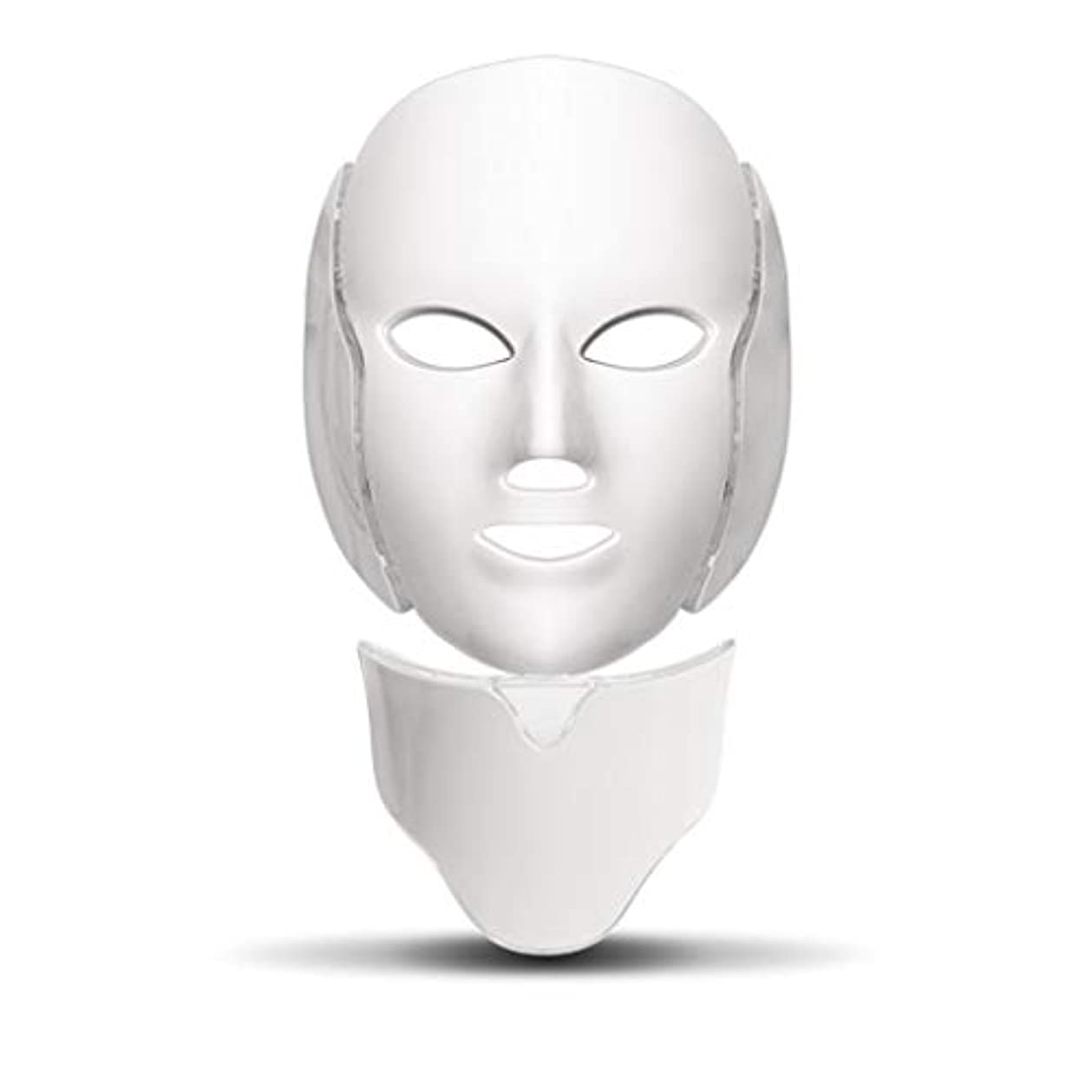 エレメンタル収束寺院ライトセラピー?マスク、LEDライトセラピーは、ネックスキンケアフェイシャルマスクセラピー7色のアンチエイジング光治療にきびマスクフェーススキンビューティトーニング、しわ、アクネホワイトニングマスク (Color : White)
