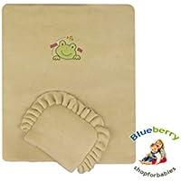 BlueberryShop Embroidered Fleece Pram Crib Moses 2pc Set Quilt & Pillow (29.5