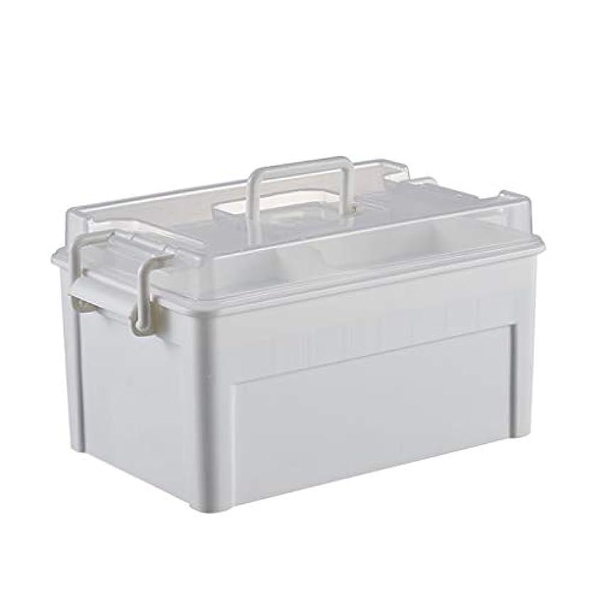 家庭用薬箱こども救急箱家庭用薬箱プラスチック薬箱薬収納箱薬箱小薬箱 LIUXIN (Color : White, Size : 27.5cm×16.5cm×15cm)