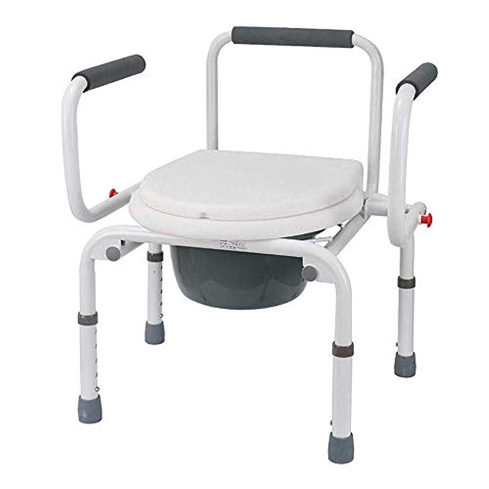 荒野サーバキウイトイレの椅子の寝室の便器の高さ調節可能な滑り止め、パッド入りのシートとアーム付き