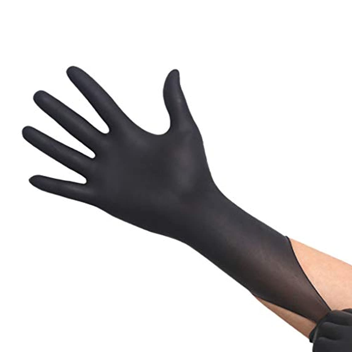 ロボット最終回転厚手の耐摩耗性使い捨てブラックニトリル手袋 - 耐酸性美容サロン手袋、50ペア/箱 YANW (色 : ブラック, サイズ さいず : L l)