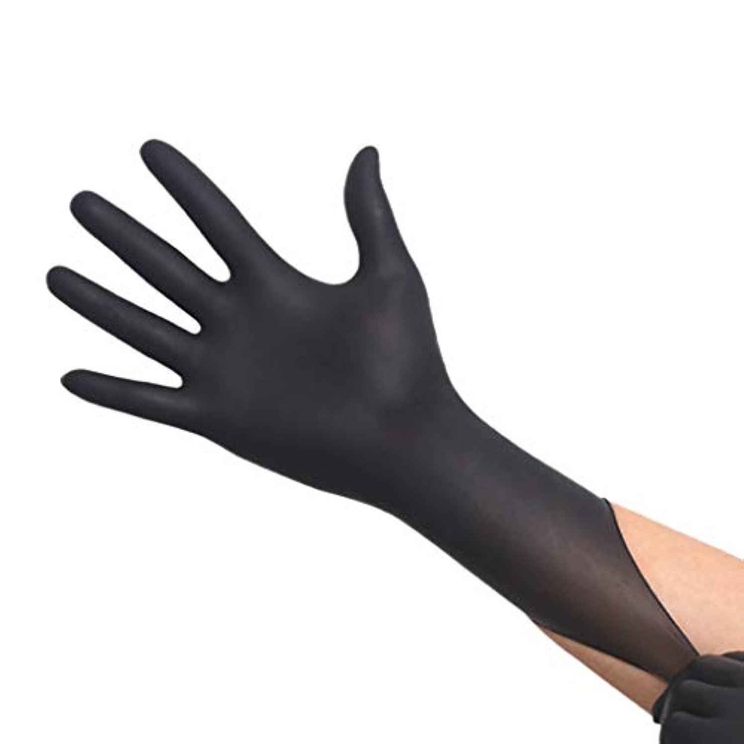 事実鮫狂気厚手の耐摩耗性使い捨てブラックニトリル手袋 - 耐酸性美容サロン手袋、50ペア/箱 YANW (色 : ブラック, サイズ さいず : M m)
