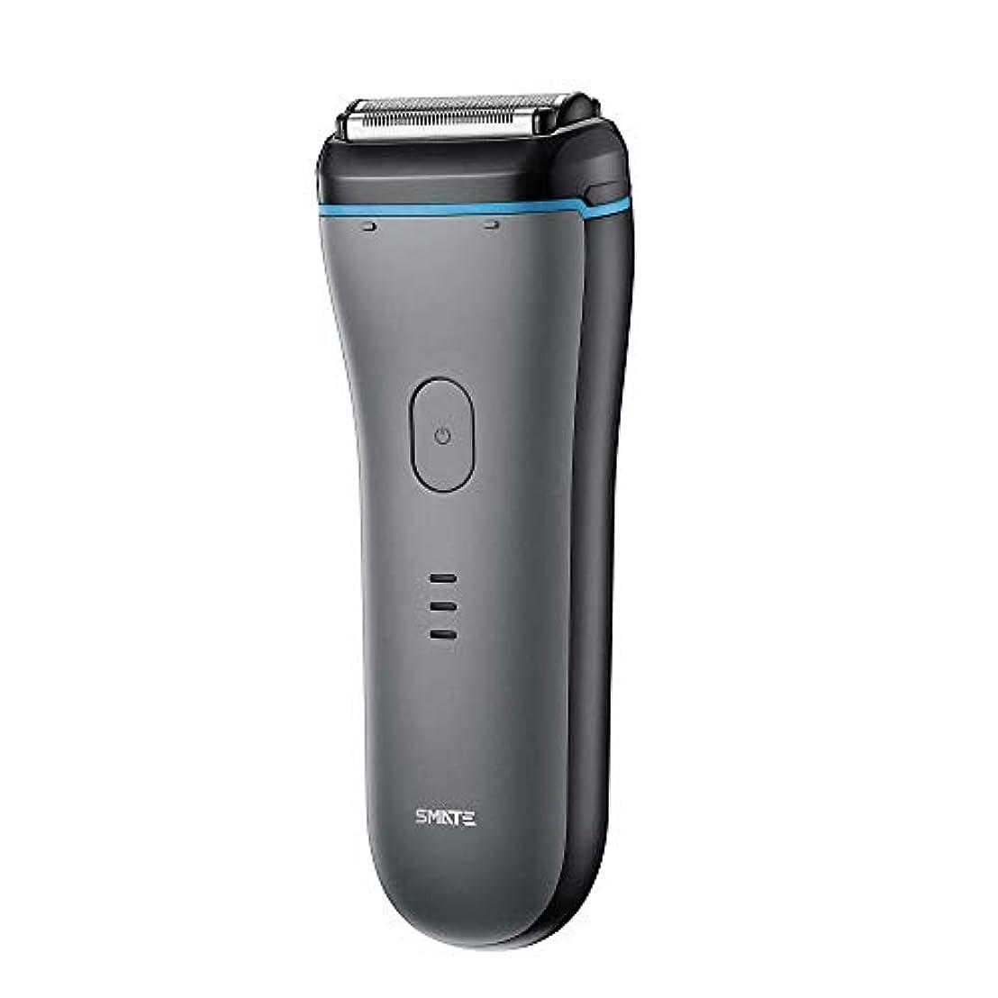 王朝石ご意見SMATE ひげそり メンズ電気シェーパー 三枚刃往復式 USB充電式 電動髭剃り IPX7防水仕様 水洗い可 お風呂剃り可 乾湿両用-ブラック