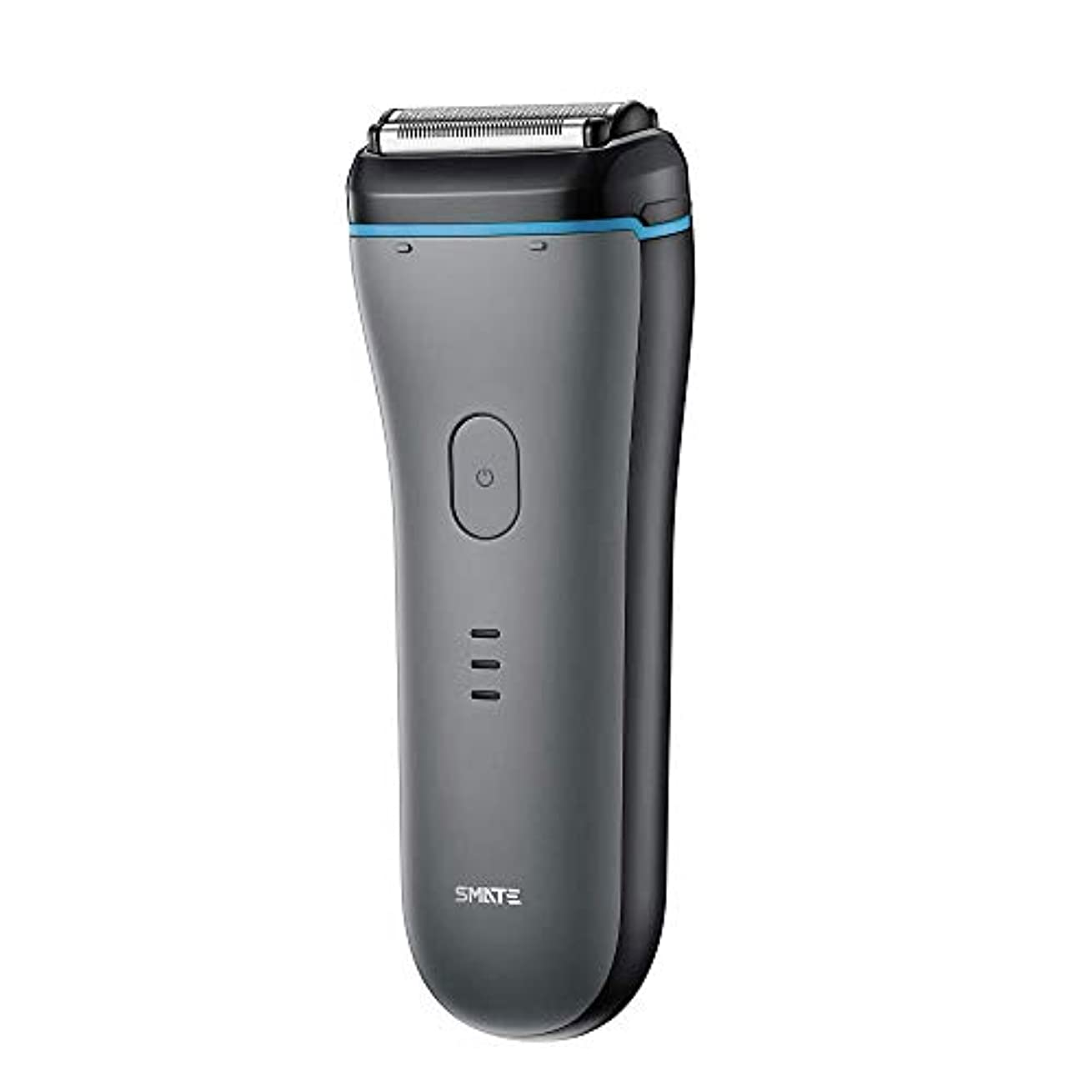 大胆な不運偉業SMATE ひげそり メンズ電気シェーパー 三枚刃往復式 USB充電式 電動髭剃り IPX7防水仕様 水洗い可 お風呂剃り可 乾湿両用-ブラック