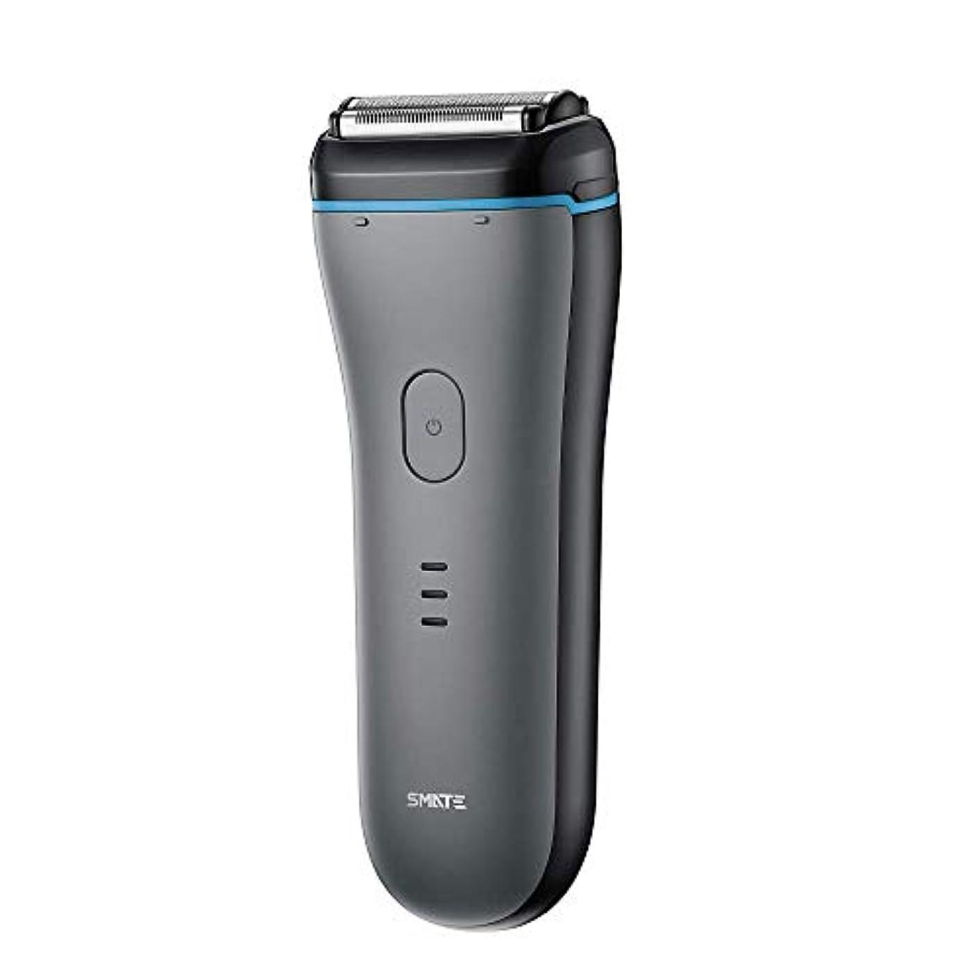 面白いキモい満足SMATE ひげそり メンズ電気シェーパー 三枚刃往復式 USB充電式 電動髭剃り IPX7防水仕様 水洗い可 お風呂剃り可 乾湿両用-ブラック