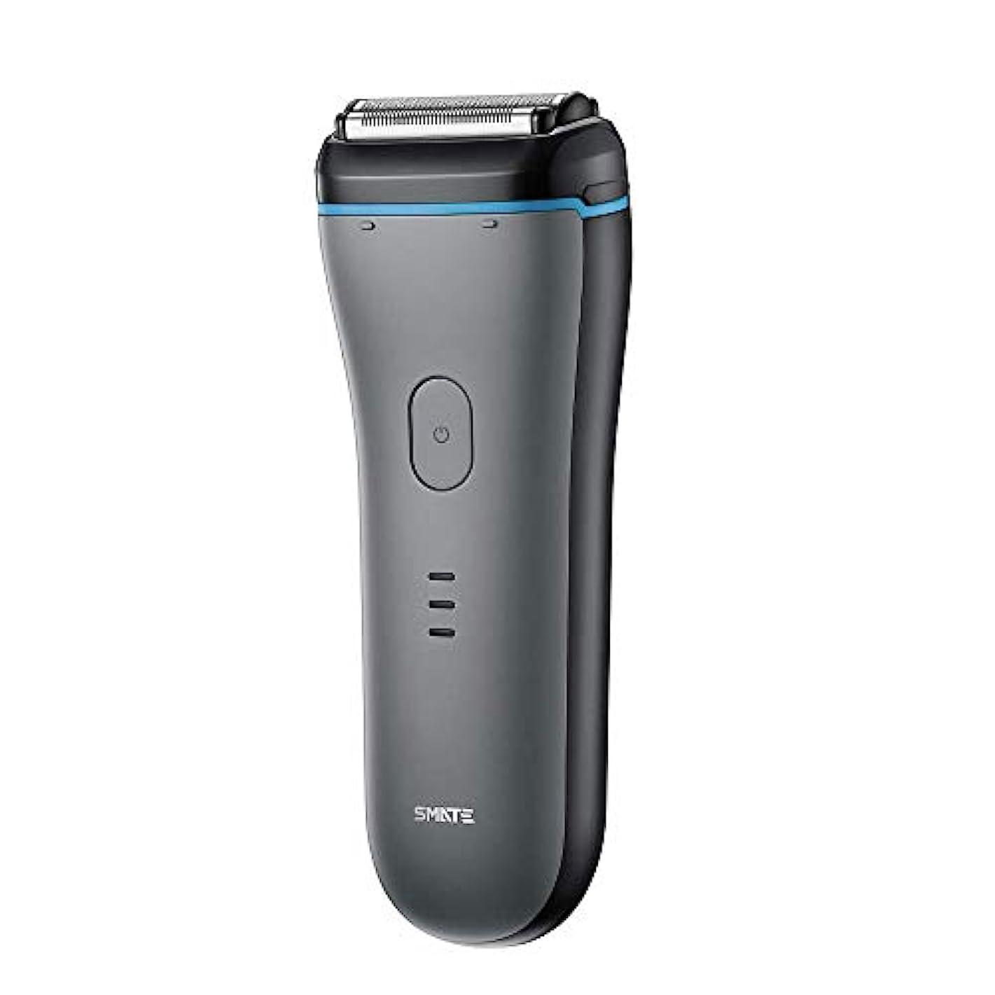 スピーカー音節不道徳SMATE ひげそり メンズ電気シェーパー 三枚刃往復式 USB充電式 電動髭剃り IPX7防水仕様 水洗い可 お風呂剃り可 乾湿両用-ブラック