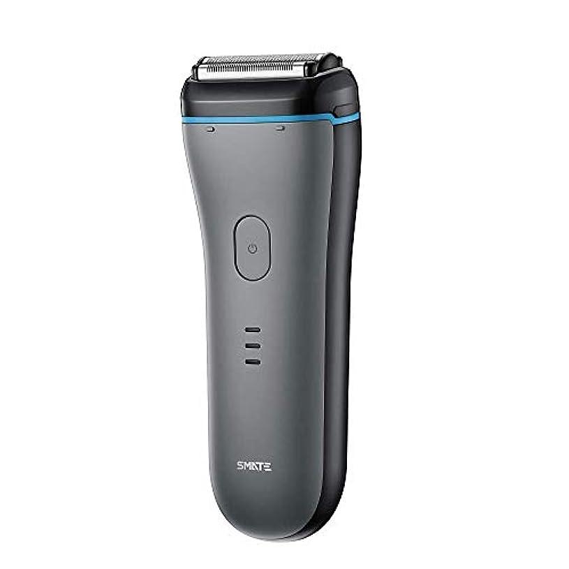 前投薬クリック虐殺SMATE ひげそり メンズ電気シェーパー 三枚刃往復式 USB充電式 電動髭剃り IPX7防水仕様 水洗い可 お風呂剃り可 乾湿両用-ブラック