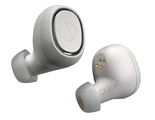 オーディオテクニカ audio-technica 完全ワイヤレスイヤホン ATH-CK3TW WH Bluetooth対応 左右分離型 小型 高音質 ホワイト