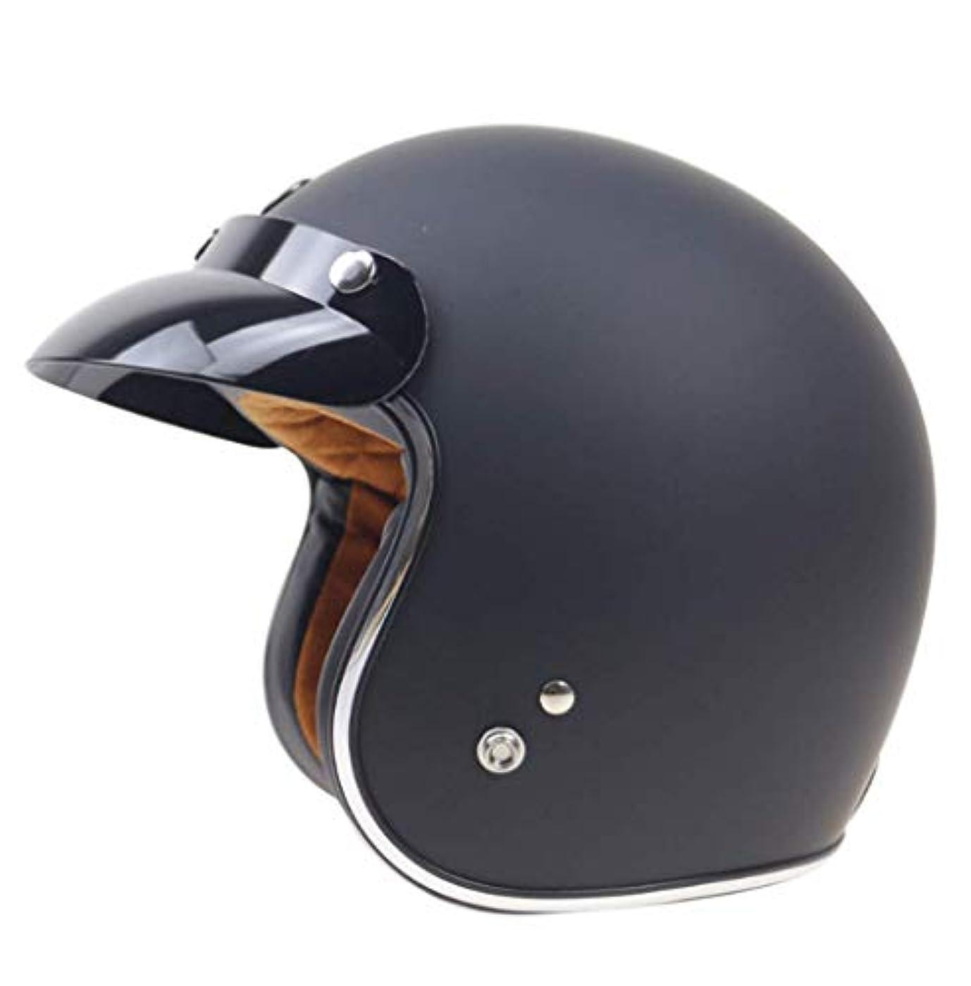 ほのめかすはがき欲望LSRRYD 3/4の古典的な開いた表面のオートバイのヘルメット、ヘルメットの安全クラッシュのスクーターのオートバイのヴィンテージハーレー (色 : ブラック, サイズ さいず : XXL 63-64CM)