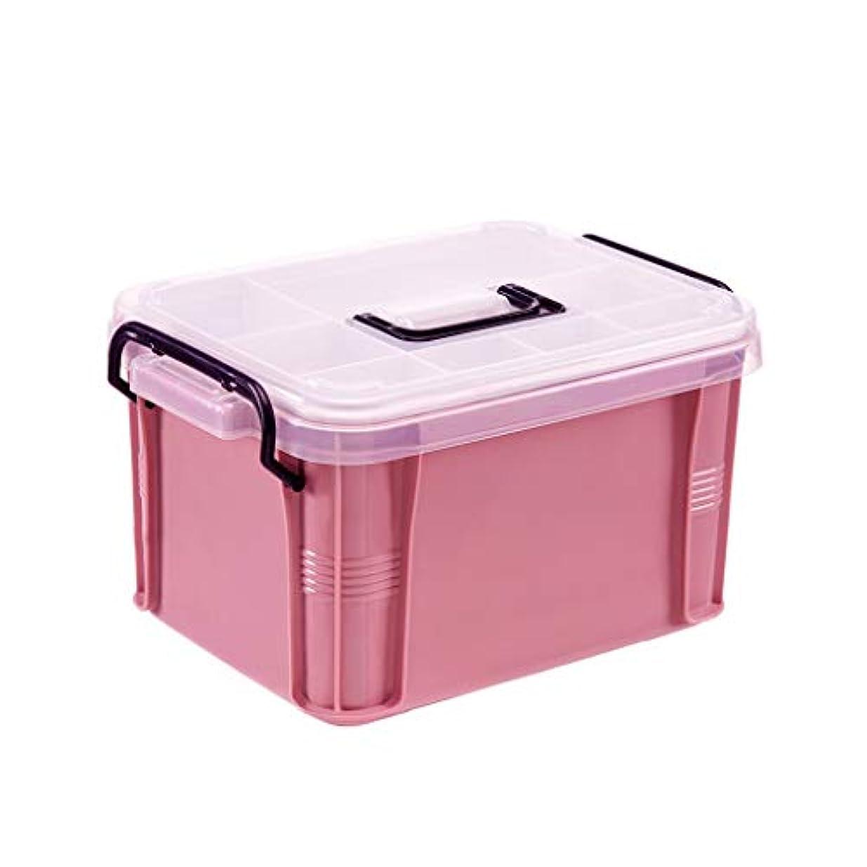 アーティファクト毒液故国小さな薬箱ポータブル大容量薬収納ボックスホーム緊急医療ボックス救急箱 HUXIUPING (Color : Pink, Size : S)
