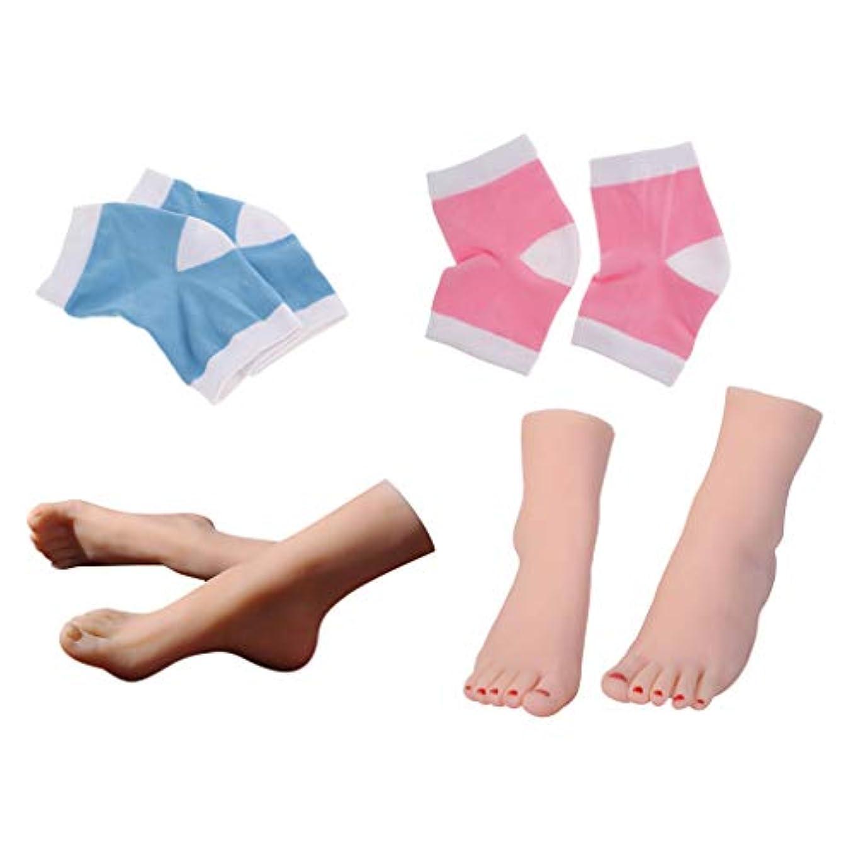 スペインシャックル海賊Perfeclan 足モデル ディスプレイフット 足のマッサージ ネイル 練習用 + 足用スリーブ 足の袖