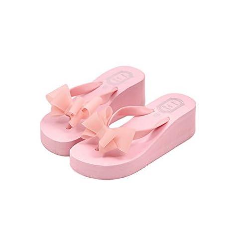 【ANION】かわいい サンダル レディース ヒール 厚底 歩きやすい 人気の三色展開 (39/24.5cm, ピンク)