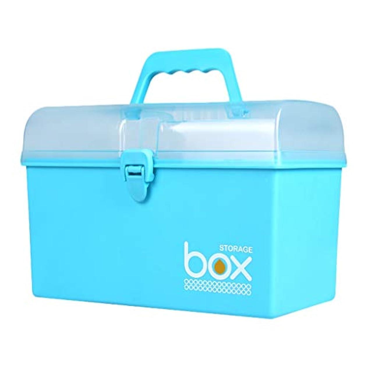 マルコポーロ耕すわなピルボックスPP 27.5 * 15.7 * 19cm家庭用薬ボックス薬収納ボックス (色 : 青)