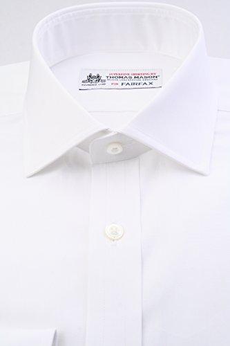 (フェアファクス) FAIRFAX トーマス・メイソン生地 白無地 ブロード ワイド イングリッシュスプレッドカラー(細身) ドレスシャツ w1772