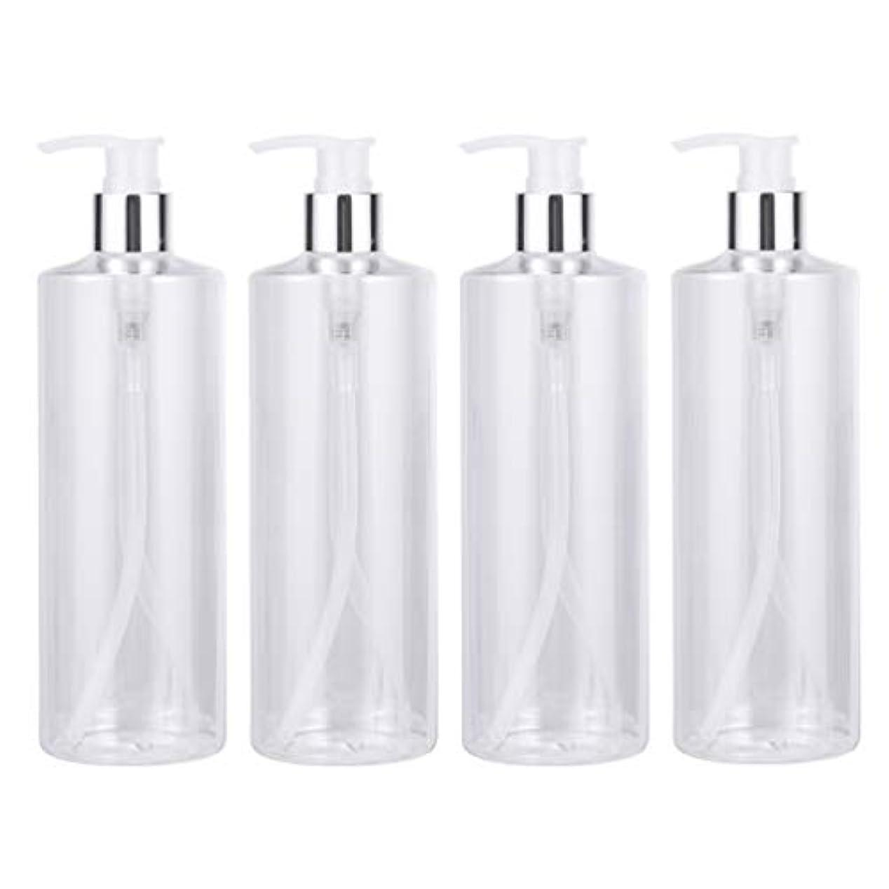 理解不合格差別LIOOBO 4ピース500ミリリットル空のシャンプーローションポンプボトルボディウォッシュローションディスペンサーボトル詰め替え液体石鹸容器家庭用旅行