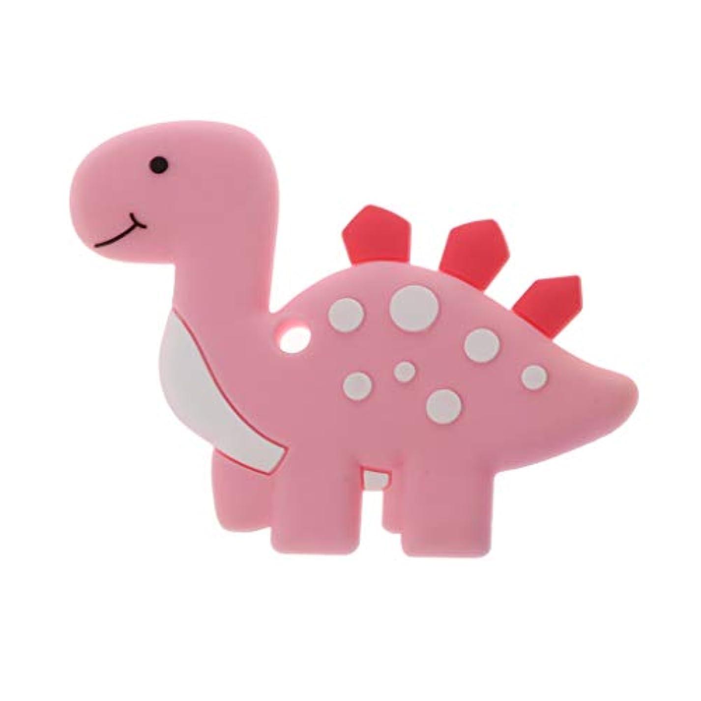 弾力性のあるバックアップ骨折Landdumシリコーンおしゃぶり恐竜おしゃべり赤ちゃん看護玩具かむ玩具歯が生えるガラガラおもちゃ - ロイヤルブルー