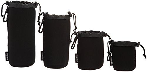 Amazonベーシック 耐水性ネオプレンカメラレンズアクセサリーケース 4点セット ブラック