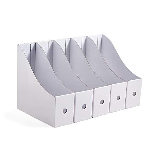 Resky ファイルボックス A4 紙 収納ボックス 小物入れ ファイルスタンド 5個組 白