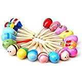 UDTEE 12pcs Mini WoodenフィエスタMaracas ( Colors Vary ) by UDTEE