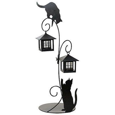 ガーデンライト LED センサー付 ソーラーライト 猫のシルエットL