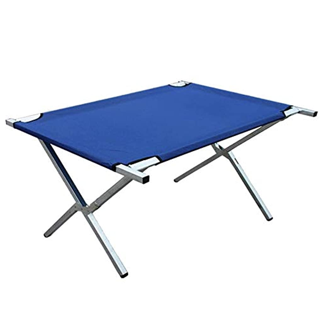 意義トランペットお酒金属フレームのピクニックガーデンテーブルを使って青い色の生地の折るキャンプテーブルの3つのサイズ アウトドア キャンプ用 (色 : 青, サイズ : 100*70*70cm)