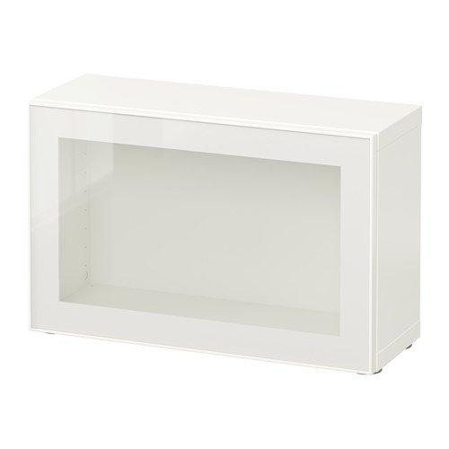 BESTÅ シェルフユニット ガラス扉付, ホワイト, グラスヴィーク ホワイト/クリア ガラス, 60x20x38 cm