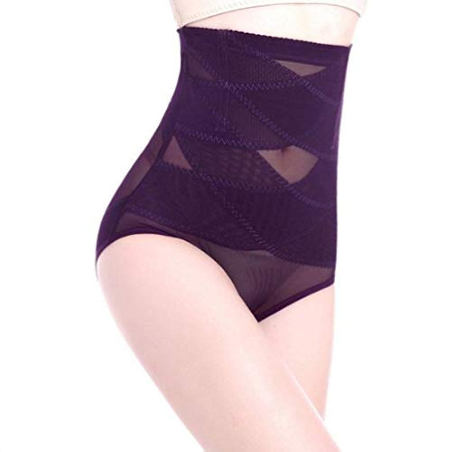 もろいトロピカルトロピカル通気性のあるハイウエスト女性痩身腹部コントロール下着シームレスおなかコントロールパンティーバットリフターボディシェイパー - パープル3 XL