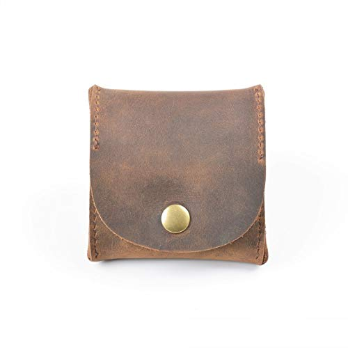 ZAKALE 一流の革職人が作る メンズ小銭入れ 本革 コインケース ボックス型 ボタン式 (ブラウン)