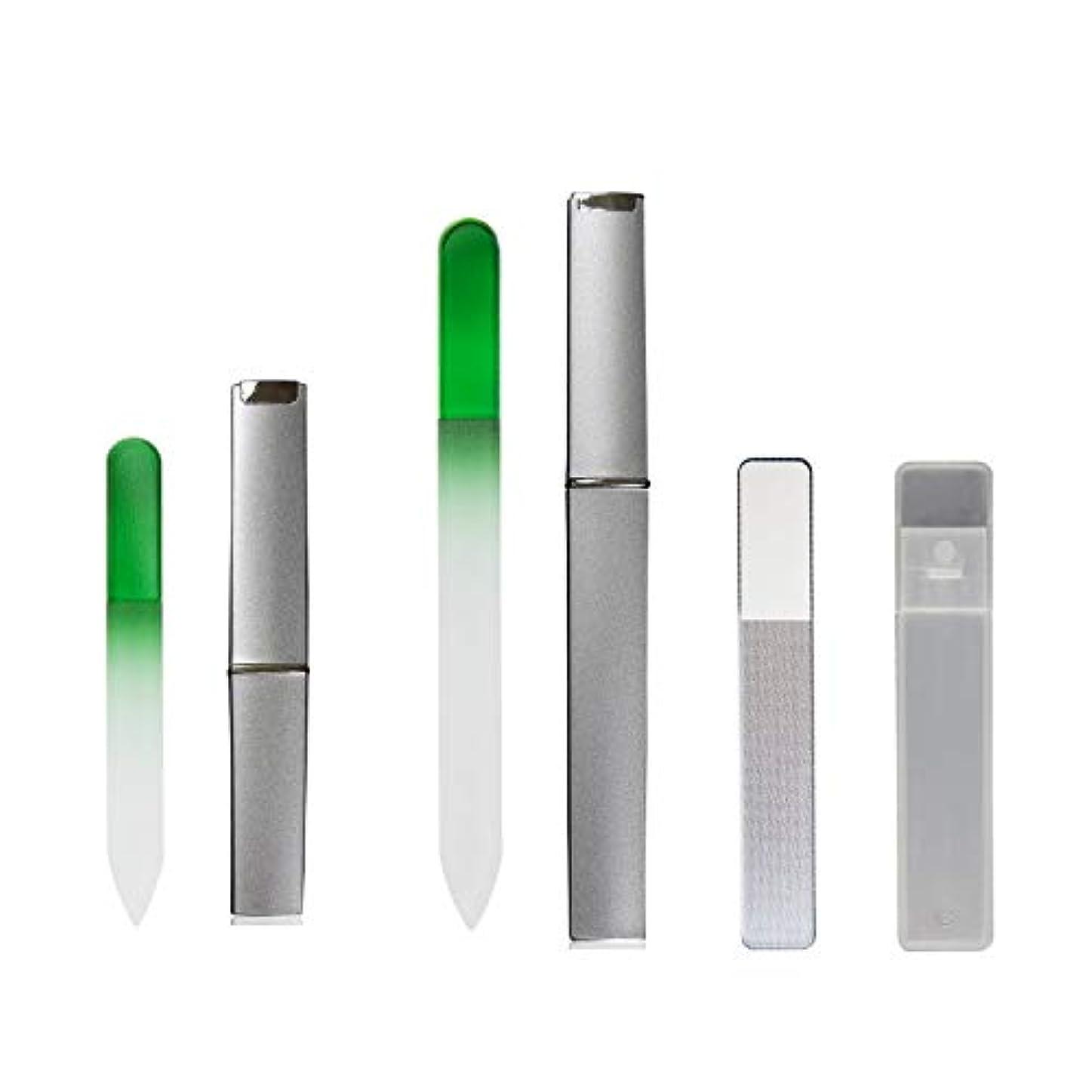 と遊ぶ口述のため4点セット 爪やすり 爪磨き ガラス製 専用 ケース付 ネイル ケア