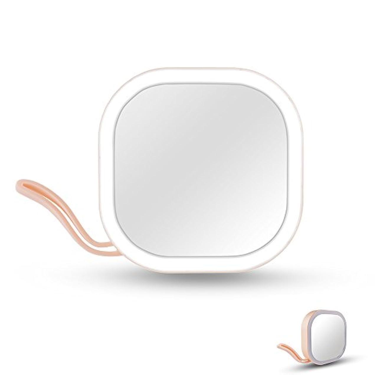 薄い怖いジャングルIchic LEDミラー 化粧鏡 メイクミラー 携帯用ミラー 手鏡 コンパクト 持運び便利 USB充電