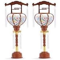 霊前灯 張廻転 木目 1号 1対(2台1組) 高さ約37cm 廻転筒付 日本製 行灯 盆提灯 八女提灯