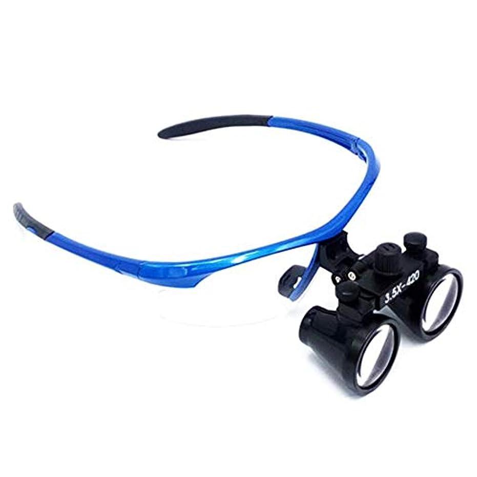成功するセッティングメタルライン青枠プロフェッショナル双眼拡大鏡3.5倍メガネ拡大鏡