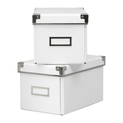 RoomClip商品情報 - KASSETT CDボックス ふた付 / ホワイト 2ピース IKEA イケア