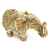 象(ゾウ)の置物・金色で体にアートなデザイン装飾があります・タイプD