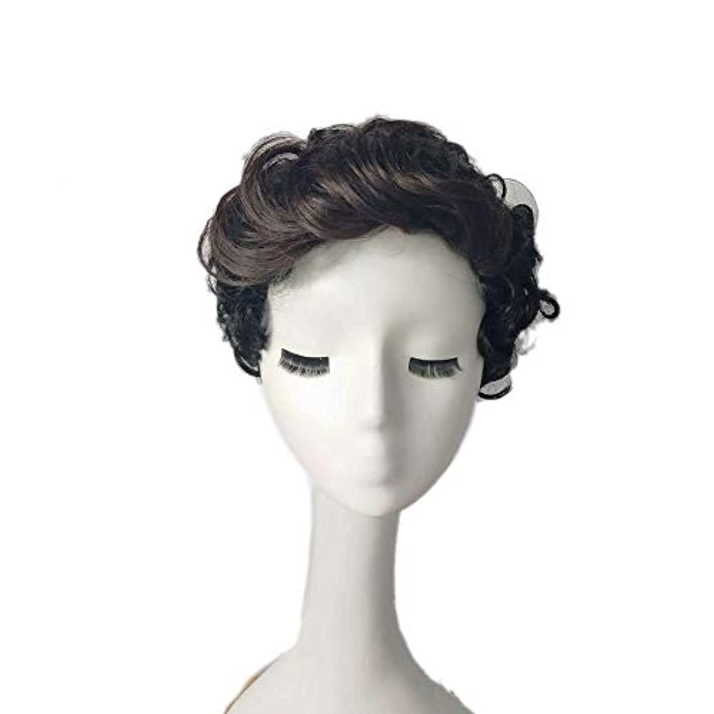 アクセント直径勝利したYOUQIU カーリーウェーブ人工毛ショートボブカーリーヘアウィッグ女性耐熱ファイバーウィッグの場合 (色 : 黒)