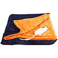 電気毛布シングル、多目的ウォームアップブランケット、温度設定の9種類、暖かく、癒し、操作しやすい、安全な洗える、ブルーオレンジ、ピンクグレイのドット、150 * 80センチメートル (色 : Orange blue, サイズ さいず : 150 * 80cm)