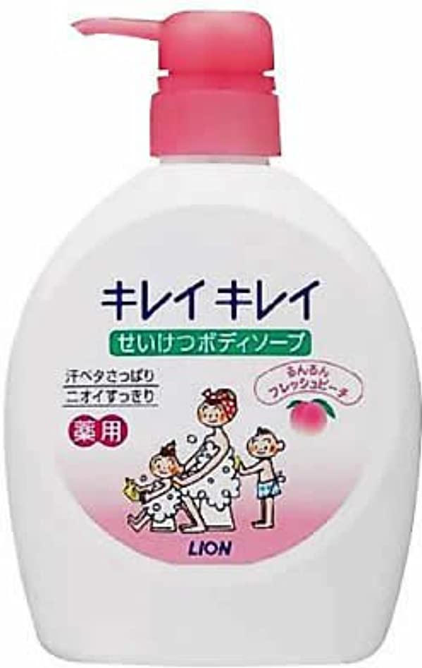 風邪をひく偽装する成り立つキレイキレイ せいけつボディソープ るんるんフレッシュピーチの香り 本体ポンプ 580ml