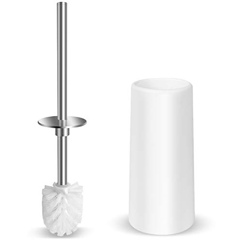 Vsadey トイレブラシ 360°植毛タイプ ステンレス棒 ケース付き 水はね防止 トイレ掃除用品 スッキリ収納 傷がつきにくい 抗菌 速乾 トイレクリーナー