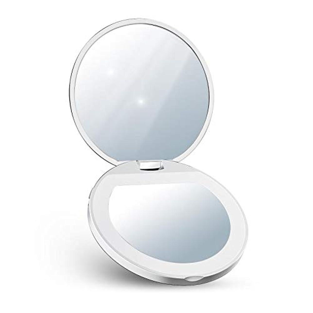 クラックポットうねるティームLED化粧鏡 コンパクト 化粧ミラー 2倍拡大 折りたたみ式 持ちやすい USB充電 明るさ調節可能 両面鏡(ホワイト)