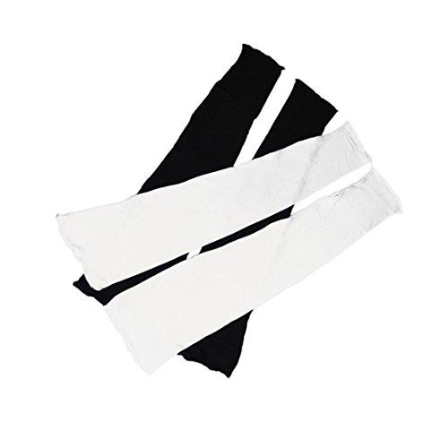 【2組(2色)セット】 アームカバー ロング サイズ [長さ48cm] 薄手 (typeB) フィンガーレス / 2カラーセット + ミニタオル / 紫外線 ガード UV ケア 日焼け 防止 日よけ 手袋 [MG151-04-768] (ブラック&ホワイト(黒色1組+白色1組)